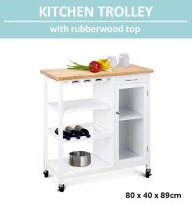 Portable Kitchen Trolley Cooking Workbench Island Rubberwood Top Wine Rack WHITE