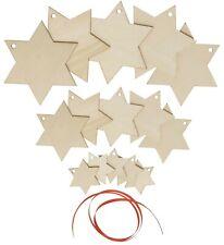 Holzanhänger Stern 3 Größen 15 Stück Basteln Kreativ Stern Weihnachten