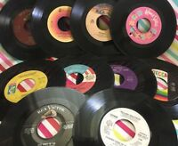 "✨ Lot of 10 - 7"" 45 RPM Vinyl Records Record Art Decorating Crafts 70s 80s ✨"