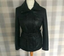 Ladies F&F Black REAL LEATHER Belted Jacket Size 12