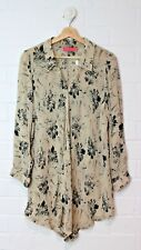 WISH Cream Sheer Button Down Blouse Floral Print Size 10 Size S