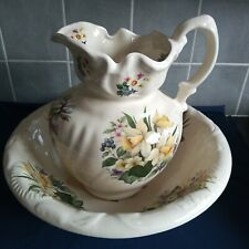 More details for large vintage floral wash bowl & jug vgc