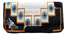 "Navajo Western Saddle Pad NZ Wool Thick Fur Padding back 34"" x 36"" Bull embroide"