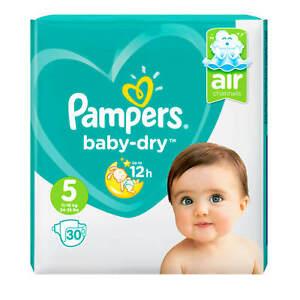 30 Stück Pampers Baby Dry Größe 5 / 11 - 16 kg 24 - 35 lbs Windeln new BABY air