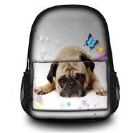 Ladies Girls Pug Dog Canvas Backpack Rucksack School bags College Shoulder Bag