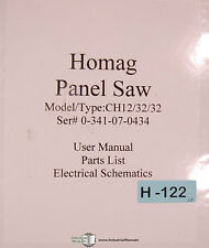 """Homag CH12 32 32, Espana """"All Cut"""" panel Saw Operations Parts & Electric Manual"""