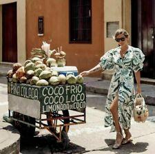 H&M X Johanna Ortiz Linen blend green white Leaf Print Dress US S UK 10 Eur 38