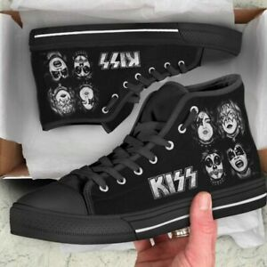 KISS First Album Graphics in White on Black Shoes US Size 8.5 UK 40 w KISS LACES