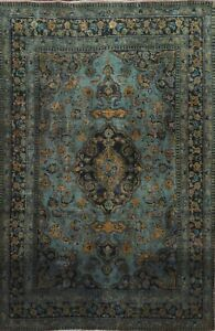 Antique Kashmar Hand-knotted Floral Area Rug Wool Oriental Overdyed 6'x9' Carpet