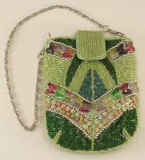 Green Beaded Small Purse with Butterfly & Shells Beads Snap Closure