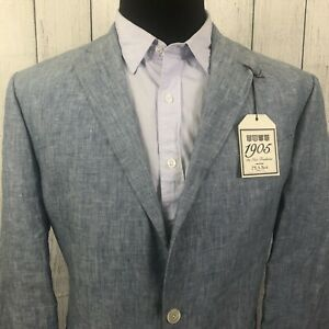 Jos. A. Bank 1905 44L Blue 100% Linen Tailored Fit 2-Button Sports Coat NWT