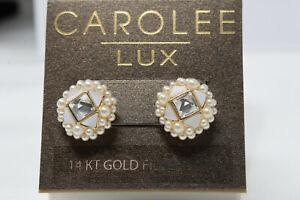 NWT $50 CAROLEE LUX 14k Gold-Filled Pearl MOP Rhinestone Earrings on Card K4