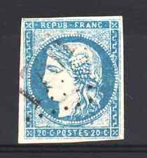 "FRANCE STAMP TIMBRE 44 B "" BORDEAUX 20c BLEU TYPE I REP 2 "" OBLITERE TTB  R207"