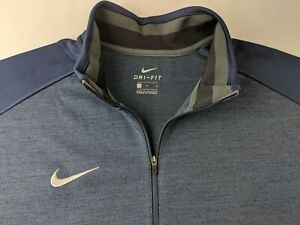 NEW Nike Coaches 1/2 Zip Top Men L Navy Blue Pullover Dri Fit Long Sleeve Y