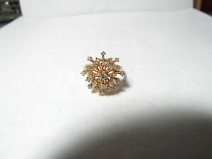 14K SOLID YELLOW GOLD STAR BURST RING WITH 23 ROUND NATURAL DIAMONDS