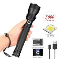 2000LM XHP50 LED Flashlight Super Bright 18650 USB Rechargeable Flashlight Torch