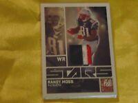 2009 Donruss Elite Stars Randy Moss 3 Color Jersey Swatch Card #20 SP #d 09/50