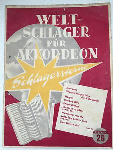 """Notenheft """"Welt-Schlager für Akkordeon"""" Nr. 26 60er Jahre Akkordeon Klavier"""