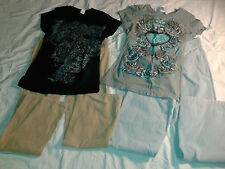 Woman's 5 Piece Clothes Lot - Size 9 Pants Size L XL Tops (Cuts in pants)
