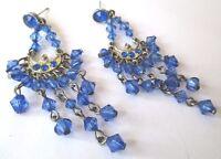 boucles d'oreilles percées bijou rétro couleur argent pampille bleu * 489