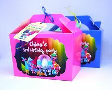 Trolls Personalised Party Boxes Bags Blue Birthday Fillers Poppy Treats Favours