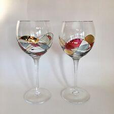 "Set of 2 PartyLite Calypso Mosaic 8"" Water Glass Stem Wine Goblets 8 oz Rare"