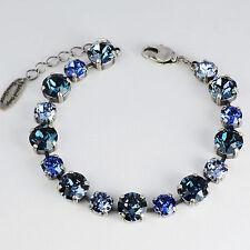 Armband Tennis Silber 16 Swarovski Kristalle Multicolor Sapphire Montana blau