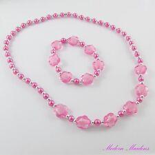 5x 2pce set Girls Flower Bracelet & Necklace Set Deluxe Party Favour Pack