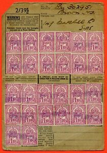 George V Health & Pensions Insurance Stamps On Card 1/10d x 26.