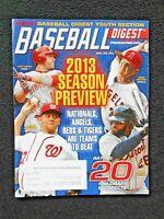 MAR/APRIL 2013 BASEBALL DIGEST -  Votto, Strasburg, Weaver, Fielder on Cover
