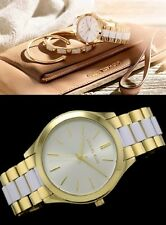 new + box women's MICHAEL KORS Slim Runway MK4295 White & Gold Tone Steel WATCH