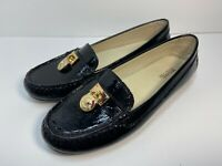 MICHAEL KORS Signature Black Patent Leather Moccasin Loafers Gold Lock SZ 7.5 M