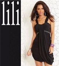 LADIES BLACK GRECIAN STYLE DRESS WITH EMBELLISHMENT SIZE 10 BNWT