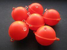 6 X ORANGE PLASTIC BUBBLE FLOATS, CARP FISHING 45MM (SIZE: LARGE)