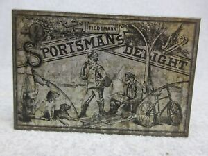 Antique TIEDEMANN'S SPORTMAN'S DELIGHT Tobacco TiN Hunting,Fishing,Sled,Bicycle