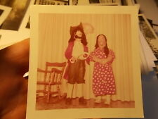 Vint Color Snapshot Photo, Girl W Boy As Captian Hook Pirate For Halloween