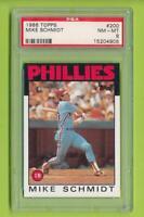 1986 Topps - Mike Schmidt (#200) Philadelphia Phillies  PSA 8
