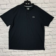 New listing Under Armour HeatGear Loose Fit Golf Polo Men 3XL S/S Solid Black Outdoor Logo