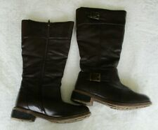 Ladies Lotus Brown Leather Zip Up Calf Length Boots Size 6