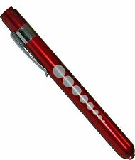 (100) Professional Medical Diagnostic Penlights With Pupil Gauge Red