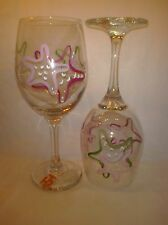 2 Hand-Painted Pink and Green Starfish Wine Glasses