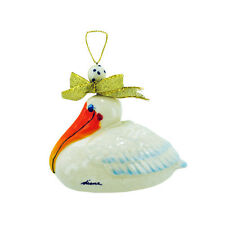 Happy Pelican Ornament Blue Sky Clayworks by Diane Artware - Ceramic Christmas