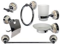 Set bagno 6 pz acciaio vetro ceramica decorazioni oro porta rotolo saponetta