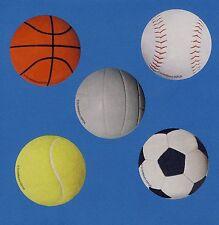 15 Sports Balls Large Stickers -Tennis, Volleyball, Soccer, Basketball, Baseball