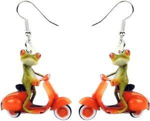 Scooter Frog Earrings Novelty Riding Acrylic Vespa Lambretta Piaggio Mods