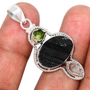 Black Tourmaline, Moldavite & Herkimer Diamond 925 Silver Pendant BP108202