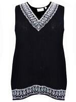 Avenue ladies tops blouses plus size 16/18 20/22 28/30 black silver embroidery