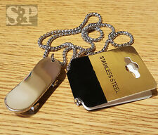 "New Stainless Steel Skateboard CZ Charm Pendant w/ 24"" Round Box Chain Necklace"