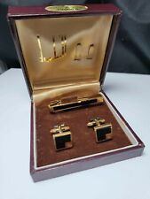 Vintage Dunhill, Two Tone, Gold and Onyx, Cufflinks Tie Chain Clip