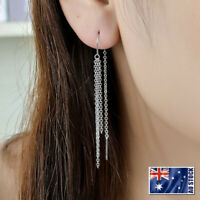 New Genuine 925 Sterling Silver Long Tassels Chain Thread Threader Stud Earrings
